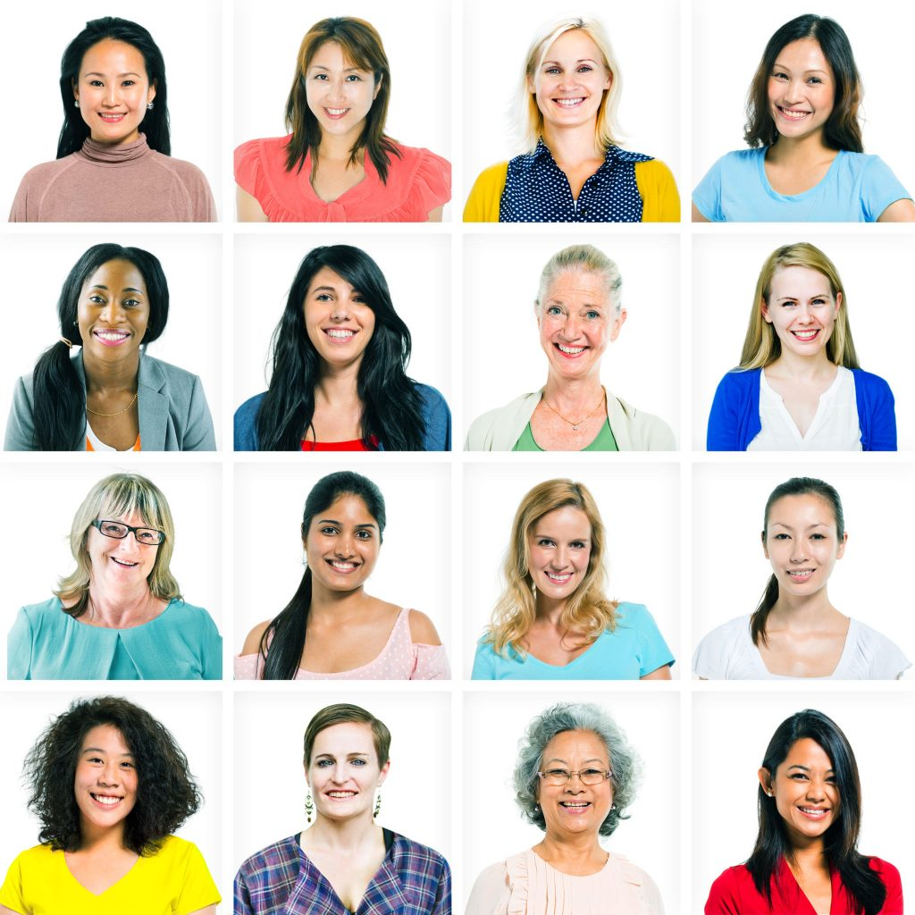 35330005 - headshots of diverse women and women only