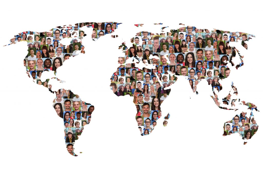 44403508 - world map earth multicultural group of people integration diversity isolated